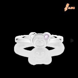 Silver February Birthstone Amethyst Color CZ Bear Ring