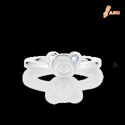 Silver June Birthstone Light Amethyst Color CZ Bear Ring