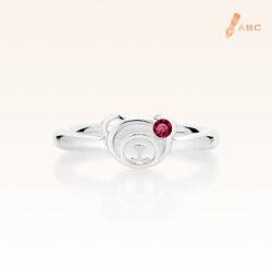 Silver January Birthstone Garnet Color CZ Bear Ring