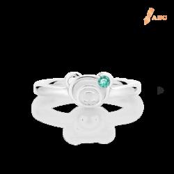Silver March Birthstone Aquamarine Color CZ Bear Ring