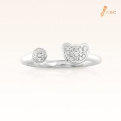 Silver Open Shank CZ Bear Ring