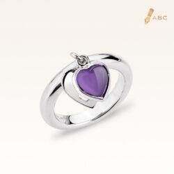 Silver Dangling Heart Natural Amethyst Ring