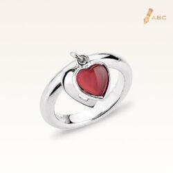 Silver Dangling Heart Natural Garnet Ring