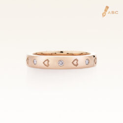 18K Pink Gold Diamond & Heart Engraved Eternity Band Ring