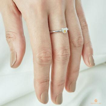 Silver November Birthstone Citrine Color CZ Bear Ring