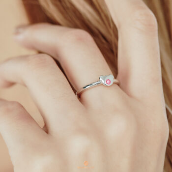 Silver October Birthstone Pink Tourmaline Color CZ Bear Ring