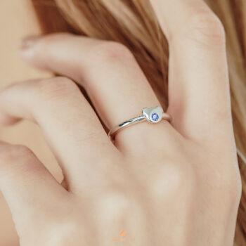 Silver September Birthstone Sapphire Color CZ Bear Ring