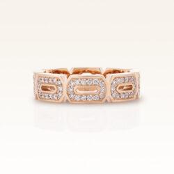 18K Pink Gold Diamond Hexagon Eternity Band  Ring
