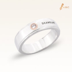 Silver & 14K Gold Diamond Gents Band Ring