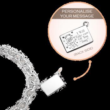 Silver Medium Personalized Envelope Bracelet