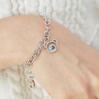 Silver Bear Blue Topaz Bracelet