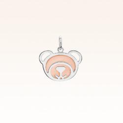 Silver Pink Opal Bear Charm