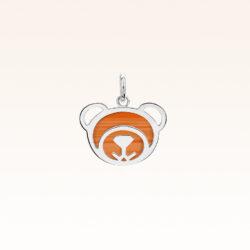Silver Red Carnelian Bear Charm