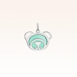 Silver Green Agate Bear Charm