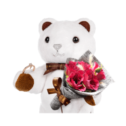 Medio Sparkle Beawelry Bear with Bouquet & a Ring Holder