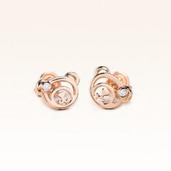 18K Pink Gold Beawelry Bear Diamond Earrings