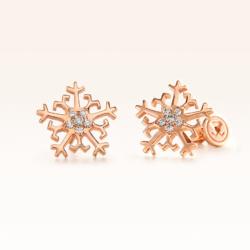 18K Pink Gold Beawelry Snowflake Diamond Earrings
