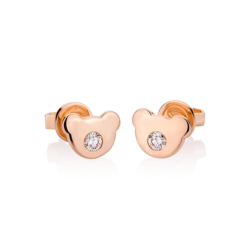 18K Pink Gold Beawelry Bear Diamond Earrings