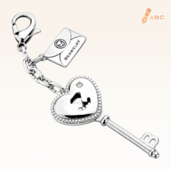 Heart Key CZ Bag Charm