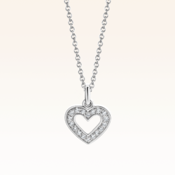 18K White Gold Heart Diamond Pendant