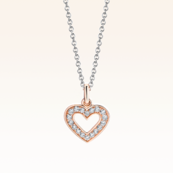 18K Two-tone Heart Diamond Pendant
