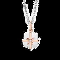 Silver & 14K Gold Diamond Gift Box Pendant