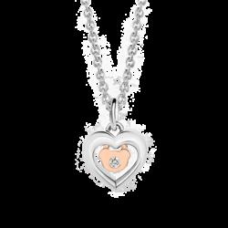 Silver & 14K Gold Diamond Heart & Bear Pendant
