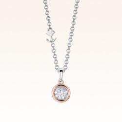 Silver & 14K Round Diamond Cluster Pendant
