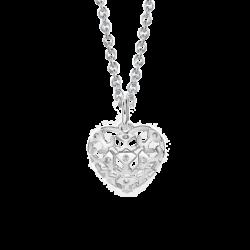 Silver Heart Beawelry Logo Filigree CZ Pendant