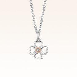 Silver & 14K Gold Clover Diamond Pendant