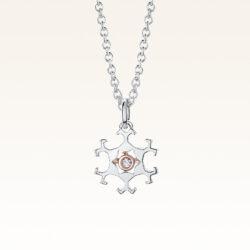 Silver & 14K Gold Snowflake Diamond Pendant