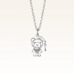 Silver Graduation Bewelry Bear CZ Pendant