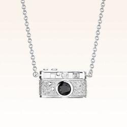 Silver Rangefinder Camera CZ Pendant