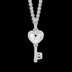 Silver Beawelry Heart Key Pendant