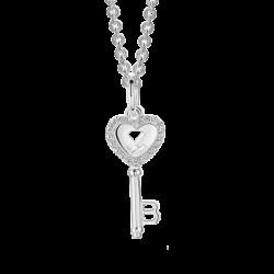 Silver Beawelry Heart Key CZ Pendant