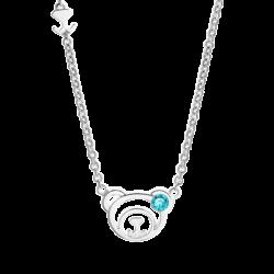Silver March Birthstone Aquamarine Color CZ Bear Pendant