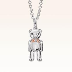 Silver & 14K Gold Mini Beawelry Bear Diamond Pendant