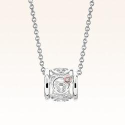Silver & 14K Gold Diamond Mini Eternity Bear Ring Pendant