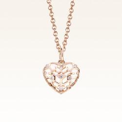 18K Pink Gold Beawelry Heart Diamond Pendant