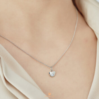 Silver June Birthstone Light Amethyst Color CZ Bear Pendant