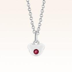 Silver January Birthstone Garnet Color CZ Bear Pendant