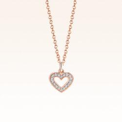 18K Pink Gold Heart Diamond Pendant