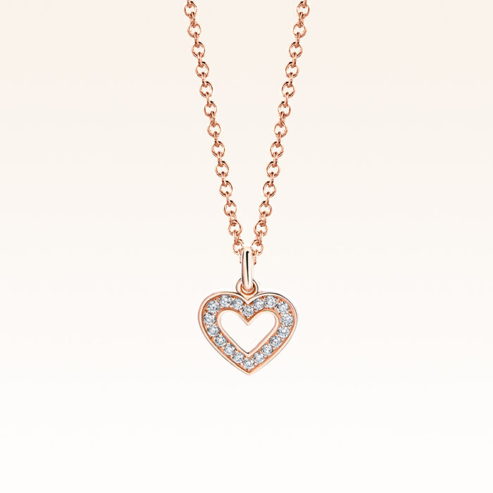 18K Pink Gold Heart Diamond Pendant