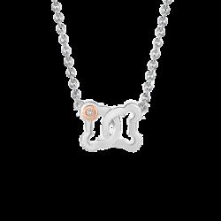 Silver & 14K Gold Infinity Beawelry Bear Diamond Pendant