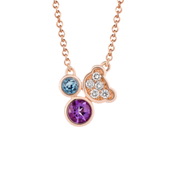 18K Pink Gold Beawelry Bear with Natural Amethyst, Blue Topaz & Diamond Pendant