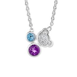 Silver Beawelry Bear with Natural Amethyst, Blue Topaz & CZ Pendant