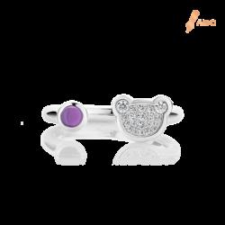 Silver Natural Amethyst & CZ Bear Ring