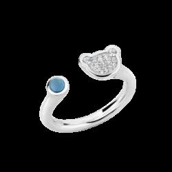 Silver Natural Light Blue Topaz & CZ Bear Ring
