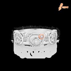 Silver & 14K Gold Bear Ring