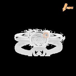 Silver & 14K Gold Diamond Bear Ring